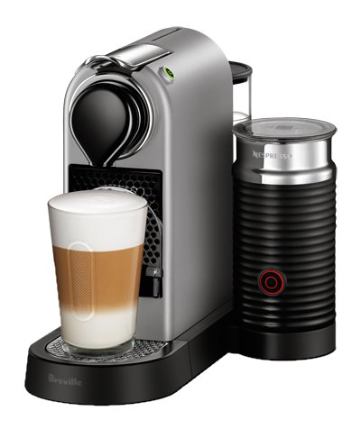 Nespresso CitiZ Espresso Machine Bundle with Aeroccino Milk Frother by Breville